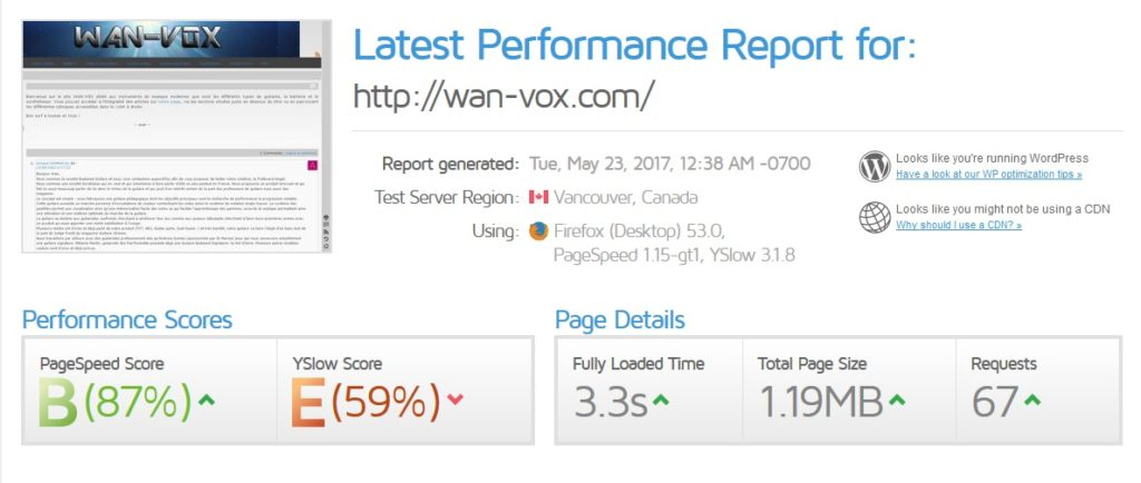 Rapport de performance après optimisation du site